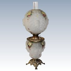 "Outstanding ANTIQUE Consolidated Patterned Art Glass ""Crystal Satin Enameled Decorated"" Gone with the Wind Oil Lamp with Blown Out Cherubs"