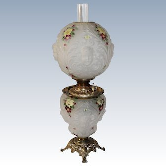"""Outstanding ANTIQUE Consolidated Patterned Art Glass """"Crystal Satin Enameled Decorated"""" Gone with the Wind Oil Lamp with Blown Out Cherubs"""