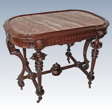 Outstanding 1870's Antique Renaissance Revival Rosewood Marble Top Table