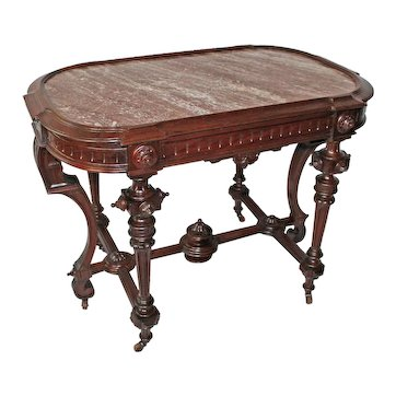 VERY RARE 1870's Antique Renaissance Revival ROSEWOOD Marble Top Table