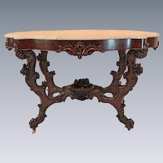 WOW!! OUTSTANDING 1850's HAND CARVED Rococo Rosewood Victorian Center or Library Table ~ RARE SIZE & SHAPE ~ Large Carved Basket of Roses and Other Flowers