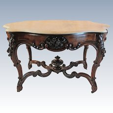 WOW!! OUTSTANDING 1850's HAND CARVED Rococo Rosewood Victorian Center Table ~ Large Roses and Other Flowers