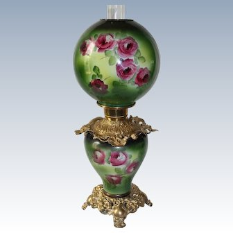 Wonderful Hand Painted Gone with the Wind Oil Lamp with Roses~ Outstanding Fancy Ornate Font Spill Ring and Base ~ALL Original Parts