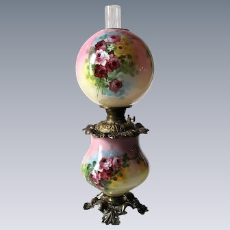 """Outstanding Hand Painted Gone with the Wind Oil Lamp with ROSES ~ 10"""" Shade ~ Outstanding Fancy Ornate Font Spill Ring and Base ~ALL Original Parts"""