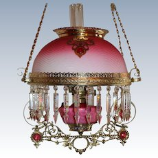 WOW! Outstanding Victorian Jeweled Hanging Library Kerosene Oil Lamp ~ VERY RARE Matching Cranberry Herringbone Mother-Of-Pearl Art Glass Shade and Glass Font