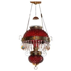 WOW! Outstanding Victorian JEWELED Charles Parker Hanging Parlor or Library Kerosene Oil Lamp ~ VERY RARE Matching Deep Cranberry Hobnail Shade, Matching Glass Font Cover and Original Matching Chimney