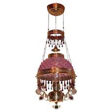 WOW! Outstanding Victorian Jeweled ANSONIA Hanging Library Kerosene Oil Lamp ~ VERY RARE PLUM Hobnail Shade