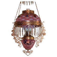 WOW! Outstanding Victorian Edward Miller & Company Hanging Library Kerosene Oil Lamp ~ VERY RARE Matching Pink Opalescent Bullseye Shade Glass Font Cover  and Undershade