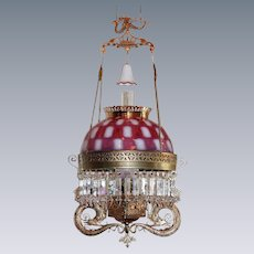 "ULTRA RARE ""Pittsburgh Serpent"" Victorian Hanging Library Kerosene Oil Lamp ~ ULTRA RARE Cranberry Opalescent Square Window Shade"