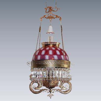 """ULTRA RARE """"Pittsburgh Serpent"""" Victorian Hanging Library Kerosene Oil Lamp ~ ULTRA RARE Cranberry Opalescent Square Window Shade"""