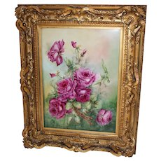 Breathtaking Large RARE T&V Limoges Porcelain Plaque with HAND PAINTED ROSES  ~ Possibly Painted by a Bischoff Student~OUTSTANDING HAND CARVED Vintage Gesso and Wood Frame