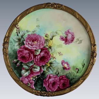 """WOW! Breathtaking Large RARE 18 """" JPL Limoges Porcelain Plaque with HAND PAINTED ROSES ~OUTSTANDING Vintage French WOODEN Frame"""