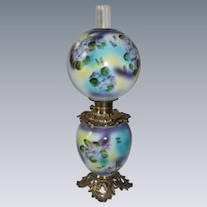 "Outstanding Hand Painted Gone with the Wind Oil Lamp with Purple and Blue Violets ~ 10"" Shade ~ Outstanding Fancy Ornate Font Spill Ring and Base"