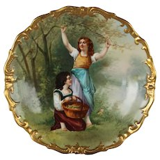 "OUTSTANDING Blakeman & Henderson 12 1/2"" LIMOGES French Hand Painted ANTIQUE Wall PLAQUE ~ Artist Signed ""Dubois"" ~ Completely Hand Painted Still Life ~ FAMOUS Artist"