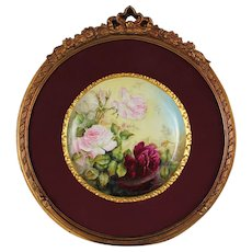"Breathtaking Large RARE 12 1/2"" T&V Limoges Porcelain Plaque with HAND PAINTED ROSES ~OUTSTANDING HAND CARVED Vintage Carved WOOD Frame and Matting ~ Museum Quality Masterpiece Limoges Roses Stunning Still Life Painting on Porcelain"