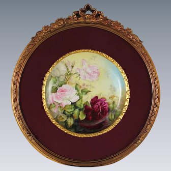 """Breathtaking Large RARE 12 1/2"""" T&V Limoges Porcelain Plaque with HAND PAINTED ROSES ~OUTSTANDING HAND CARVED Vintage Carved WOOD Frame and Matting ~ Museum Quality Masterpiece Limoges Roses Stunning Still Life Painting on Porcelain"""