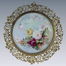 "Breathtaking Large RARE 18 1/2"" T&V Limoges Porcelain Plaque with HAND PAINTED ROSES ~OUTSTANDING Period ""Robin's Nest"" Cast Brass Frame"
