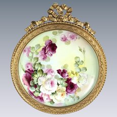 """Breathtaking Large RARE 16"""" D&Co. Limoges Porcelain Plaque with HAND PAINTED ROSES Decorated by the France Studio~OUTSTANDING HAND CARVED Vintage Carved Bow Top WOOD Frame"""