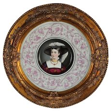 "WOW! Wonderful Large RARE 14 "" HAND PAINTED Porcelain Plaque Featuring a Victorian Lady in a Hat  ~ Museum Quality Masterpiece Still Life Painting on Porcelain"