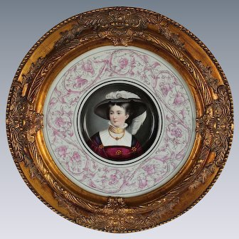 """WOW! Wonderful Large RARE 14 """" HAND PAINTED Porcelain Plaque Featuring a Victorian Lady in a Hat  ~ Museum Quality Masterpiece Still Life Painting on Porcelain"""