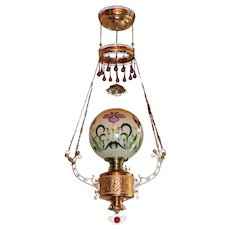 WOW! Outstanding Victorian Ansonia Hanging Gone with the Wind Parlor or Library Kerosene Oil Lamp ~ VERY RARE JEWELED Frame ~ Outstanding RARE Hand Painted and Gold Gilded Shade