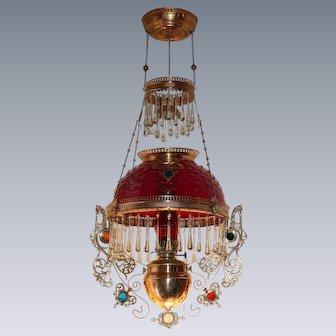 WOW! Outstanding Victorian Bradley Hubbard Jeweled Hanging Library Kerosene Oil Lamp ~ ULTRA RARE Dark Amberina Hobnail Shade, Dark Cranberry Chimney ~ with RARE Jeweled Embellishment