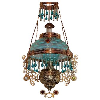 WOW! Outstanding Victorian Bradley Hubbard Jeweled Hanging Library Kerosene Oil Lamp ~ ULTRA RARE Aqua Blue Opalescent Bullseye Shade and Matching Undershade ~ with RARE Jeweled Embellishment