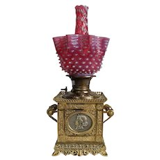 WOW! ULTRA RARE Parker Square Banquet Lamp ~ VERY RARE ORIGINAL Cranberry Opalescent Hobnail Shade with ULTRA RARE Matching Chimney ~ 1890's ~Original Parts