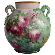 "WOW! Breathtaking JPL Limoges Hand Painted Porcelain Vase with DRAGON HANDLES and ROSES ~ ARTIST SIGNED ""M. Meek"" Museum Quality Masterpiece Limoges Roses Stunning Still Life Painting on Porcelain"