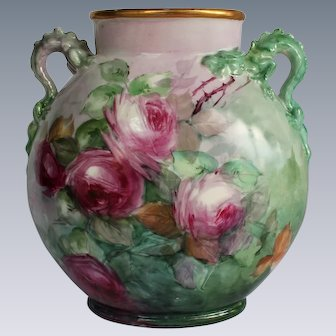 """WOW! Breathtaking JPL Limoges Hand Painted Porcelain Vase with DRAGON HANDLES and ROSES ~ ARTIST SIGNED """"M. Meek"""" Museum Quality Masterpiece Limoges Roses Stunning Still Life Painting on Porcelain"""
