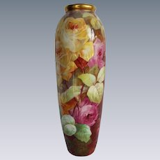 "LARGE 15 1/2"" OUTSTANDING Hand Painted LIMOGES Coronet FRENCH Still Life TEA ROSES Vase~ Artist Signed by the VERY FAMOUS Listed Artist ""A. Bronssillon"""