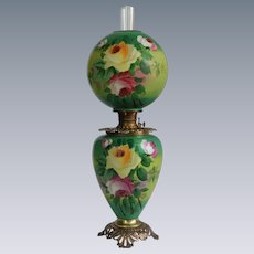 """HUGE HAND PAINTED Gone with the Wind Oil Lamp ~RARE 12"""" SHADE~Masterpiece Breathtaking BEAUTY WITH ROSES~ Outstanding Fancy Ornate  Font Spill Ring and Base"""