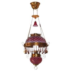 WOW! Outstanding Victorian JEWELED Charles Parker Hanging Parlor or Library Kerosene Oil Lamp ~ VERY RARE Matching Cranberry Lavender Hobnail Shade, Matching Glass Font Cover and Glass Smoke Bell
