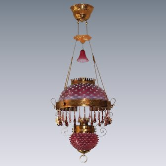 WOW! Outstanding Victorian Charles Parker Hanging Parlor or Library Kerosene Oil Lamp ~ VERY RARE Matching Cranberry Lavender Hobnail Shade, Matching Glass Font Cover and Glass Smoke Bell