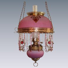WOW! Outstanding Victorian Edward Miller & Company JEWELED Hanging Library Kerosene Oil Lamp ~ VERY RARE Matching Pink to White Satin Opalescent Diamond Quilted Shade and Matching Glass Font Cover ~ with  RARE Jeweled Shade and Chain Embellishments