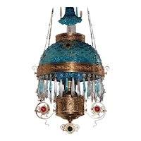 WOW! Outstanding Antique Victorian Ansonia Jeweled Hanging Library Kerosene Oil Lamp ~ RARE Deep Blue Hobnail Shade, Matching Under Shade and ULTRA RARE Matching Smoke Bell ~ with RARE Jeweled Embellishment