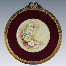 "Breathtaking Large RARE 16"" JPL Limoges Porcelain Plaque with HAND PAINTED ROSES ~OUTSTANDING HAND CARVED Vintage Carved 26 1/2"" WOOD Frame and Cloth Covered Wooden Matting"
