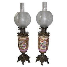 Wonderful PAIR of Electrified French Limoges Banquet Lamps ~Masterpiece Breathtaking HAND PAINTED ROSES and Courting Couple Scenes