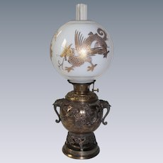 "WOW! Antique Victorian Aesthetic ULTRA RARE  Bradley Hubbard BRONZE Banquet Table Lamp ~Original 10"" Gold Gilded Dragon/Griffin Shade ~ 1880's ~Original Oil Burning Condition"