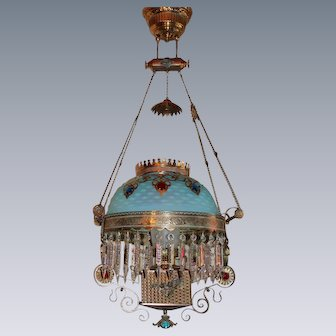 WOW! ULTRA RARE FIND!!  Outstanding Victorian Charles Parker JEWELED Hanging Parlor or Library Kerosene Oil Lamp ~ VERY RARE Blue Satin Hobnail Shade