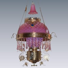 WOW! ULTRA RARE FIND!! Outstanding Victorian Charles Parker Hanging Parlor or Library Kerosene Oil Lamp ~ VERY RARE Pink Gold Dusted Hobnail Down to Bullseye Shade~Matching Undershade and Smoke Bell