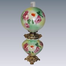 "LARGE HAND PAINTED Gone with the Wind Oil Lamp ~11"" SHADE~Masterpiece Breathtaking BEAUTY WITH MUMS~ Outstanding Fancy Ornate Font Spill Ring and Base~ Original Condition"