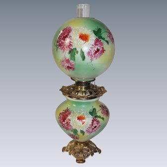 """LARGE HAND PAINTED Gone with the Wind Oil Lamp ~11"""" SHADE~Masterpiece Breathtaking BEAUTY WITH MUMS~ Outstanding Fancy Ornate Font Spill Ring and Base~ Original Condition"""