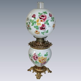 GORGEOUS Floral Hand Painted Gone with the Wind Oil Lamp with ROSES ~ RARE Outstanding Fancy and Ornate Font Spill Ring and Base~ Original Condition ~Original Parts