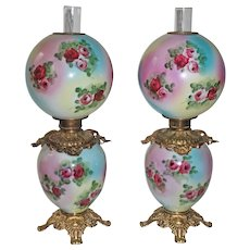 RARE PAIR of HAND PAINTED Antique Gone with the Wind Oil Parlor Lamps ~Masterpiece Breathtaking HAND PAINTED ROSES ~ Outstanding Fancy Ornate Font Spill Ring and Base~ Original Condition ~FANCY TANKS
