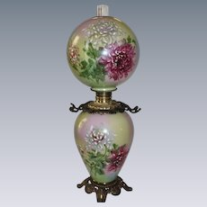 "RARE GIGANTIC HAND PAINTED Gone with the Wind Oil Lamp ~RARE 12"" SHADE~Masterpiece Breathtaking BEAUTY WITH HUGE Hand Painted Chrysanthemums"