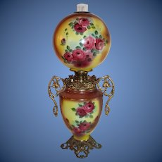 Outstanding LARGE JUMBO Gone with the Wind Oil Lamp with ROSES' ~ Outstanding VERY Fancy Handled Ornate Font Spill Ring and Base ~ALL Original Parts