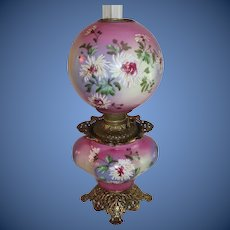 """RARE HAND PAINTED  Gone with the Wind Oil Lamp ~RARE Blown Out """"Puffy"""" Base ~Masterpiece Breathtaking BEAUTY WITH Mums ~ Outstanding Fancy Ornate Font Spill Ring and Base~ Original Condition"""