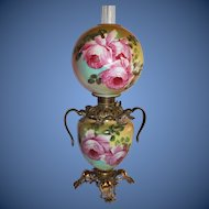 Museum Quality ~ Outstanding Hand Painted Gone with the Wind Oil Lamp with ROSES ~RARE Handled Font Ring and Base ~ Original Condition ~Original Parts
