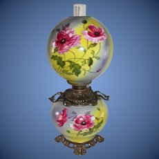 Outstanding Hand Painted Gone with the Wind Oil Lamp with Poppy Flowers ~RARE Handled Font Ring and Base ~ Original Condition ~Original Parts